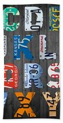 Letters Of The Alphabet Recycled Vintage License Plate Art With Apple Colorful School Nursery Kids Room Print Beach Towel