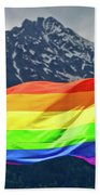 Lgbtq Rainbow Flag With Snowy Mountain Background View Beach Towel