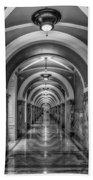 Library Of Congress Building Hallway Bw Beach Towel