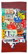 License Plate Map Of The United States - Midsize Beach Towel