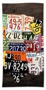 License Plate Map Of The United States - Warm Colors / Black Edition Beach Sheet