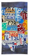 License Plate Map Of The Usa On Blue Wood Boards Beach Towel