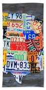 License Plate Map Of The Usa On Gray Distressed Wood Boards Beach Towel