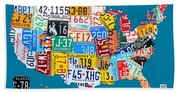 License Plate Map Of The Usa On Royal Blue Beach Towel