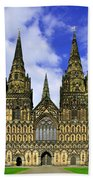 Lichfield Cathedral - The West Front Beach Towel