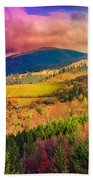 Light  Beam Falls On Hillside With Autumn Forest In Mountain Beach Towel