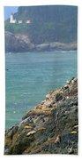 Light House And Sea Lions Beach Towel