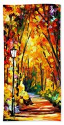 Light Of The Forest - Palette Knife Oil Painting On Canvas By Leonid Afremov Beach Towel