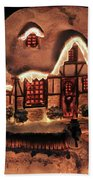 Lighted Christmas House  Beach Towel
