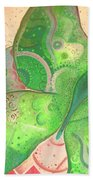 Lighthearted In Green On Red Beach Towel