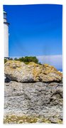 Lighthouse And Rocks Beach Towel
