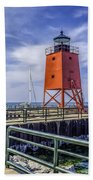 Lighthouse At Charlevoix South Pier  Beach Towel
