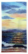 Lighthouse At Sunset Beach Towel
