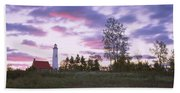 Lighthouse On A Landscape, Tawas Point Beach Towel