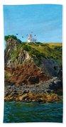 Lighthouse On Cliff Dunedin New Zealand Beach Towel