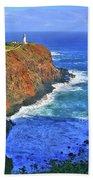 Lighthouse On The Hill Beach Towel