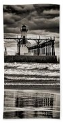 Lighthouse Reflections In Black And White Beach Towel