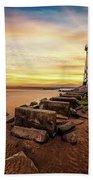 Lighthouse Sunset Wales Beach Towel