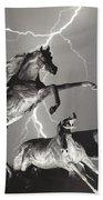 Lightning At Horse World Beach Towel
