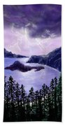 Lightning In Purple Clouds Beach Sheet