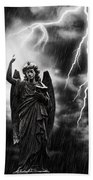 Lightning Strikes The Angel Gabriel Beach Towel by Amanda Elwell