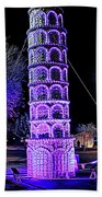 Lights Of The World Leaning Tower Of Pisa Beach Towel
