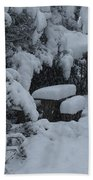 A Snowy Secret Garden Beach Towel