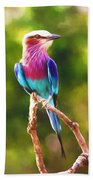 Lilac-breasted Roller Beach Towel