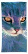 Lilac Cat Beach Towel