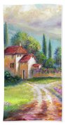Lilac Fields In The Italian Countryside   Beach Towel