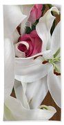 Lilies And Roses Beach Towel