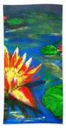 Lilies By The Pond Beach Towel