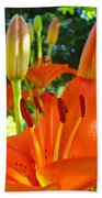 Lily Flowers Garden Art Prints Orange Lilies Floral Baslee Troutman Beach Towel