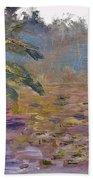 Lily Pads On A Pond, Overcast Sky 3pm Beach Towel