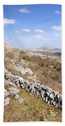 Limestone Pavements And Dry-stone Walls, Fahee North, Burren, County Clare, Ireland Beach Towel