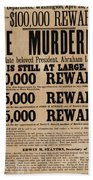 Lincoln Assassination Reward Poster Beach Towel