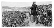 Lincoln Delivering The Gettysburg Address Beach Sheet