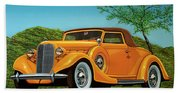 Lincoln K Convertible 1935 Painting Beach Sheet