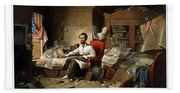 Lincoln Writing The Emancipation Proclamation Beach Sheet