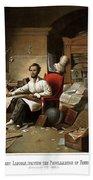 Lincoln Writing The Emancipation Proclamation Beach Towel