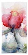 Linda's Rose Watercolor Beach Towel