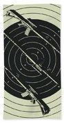 Line Art Rifle Range Beach Towel