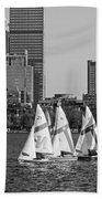Line Of Boats On The Charles River Boston Ma Black And White Beach Towel