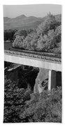 Linn Cove Viaduct Black And White Beach Towel