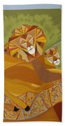Lion And Lioness Beach Towel