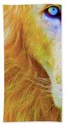 Lion Blue By Nicholas Nixo Efthimiou Beach Towel