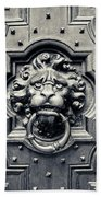 Lion Head Door Knocker Beach Towel by Adam Romanowicz
