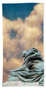 Lion In The Clouds Beach Towel