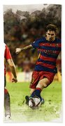 Lionel Messi Challenges The Athletic Bilbao Defense Beach Towel