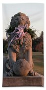 Lions Statue With Ribbon Beach Towel
